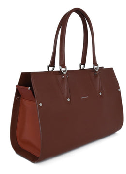 Longchamp Brown Chestnut Leather Orange Trim Satchel Handbag 2