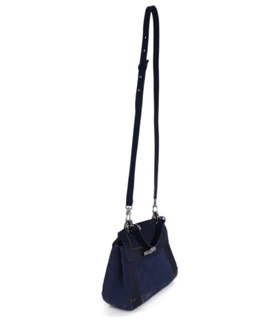Longchamp Blue Navy Leather Suede Satchel Handbag 1