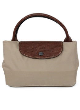 Longchamp Beige Nylon Brown Leather Handbag 1