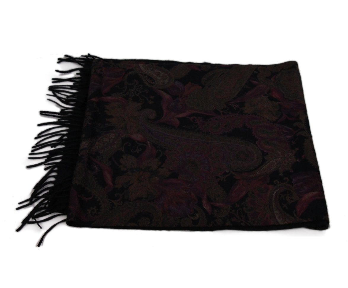 Loro Piana Black Brown Burgundy Cashmere Scarf 4