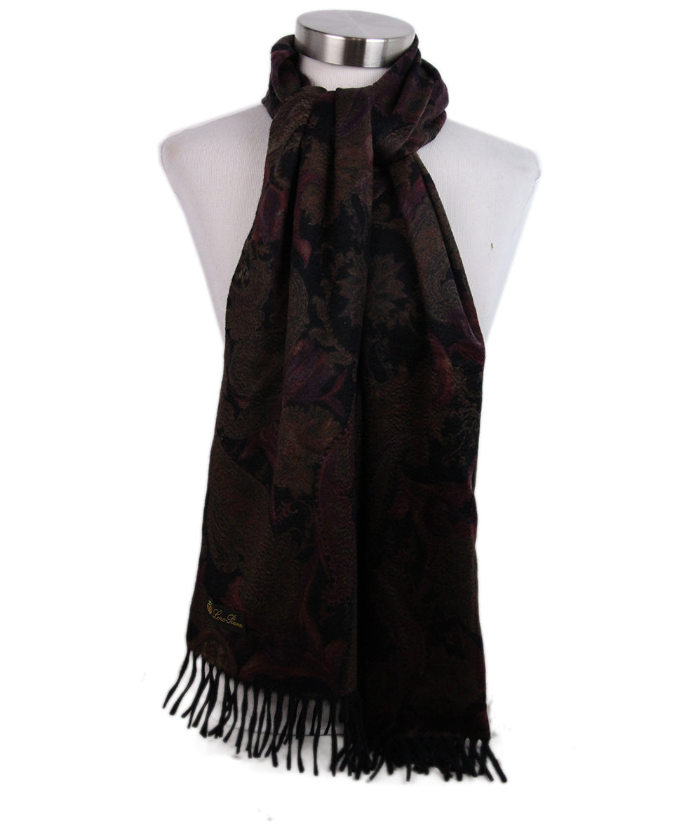 Loro Piana Black Brown Burgundy Cashmere Scarf 3