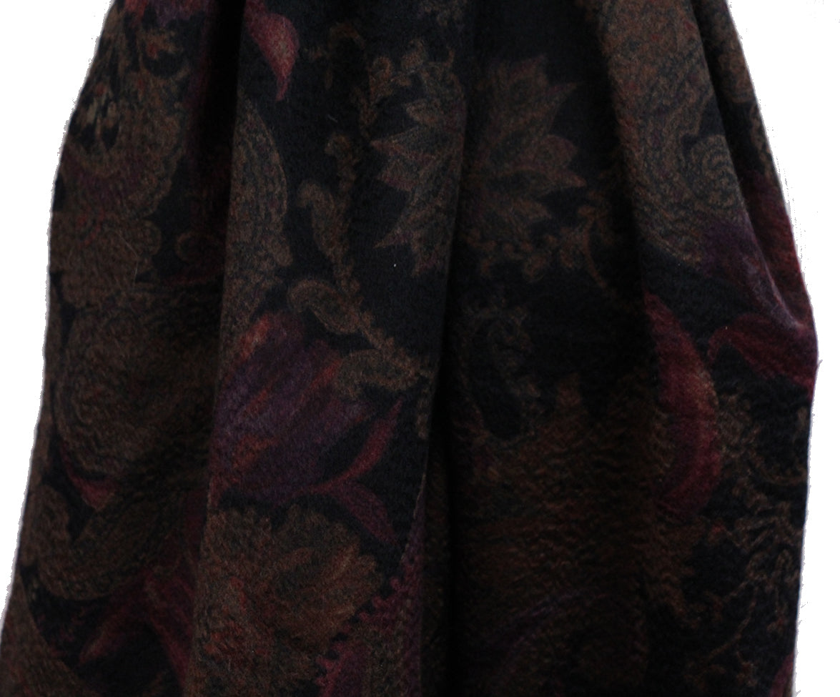 Loro Piana Black Brown Burgundy Cashmere Scarf 10
