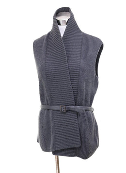 Vest Loro Piana Black Charcoal Cashmere Leather Belt Sweater