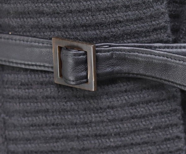 Vest Loro Piana Black Charcoal Cashmere Leather Belt Sweater 5
