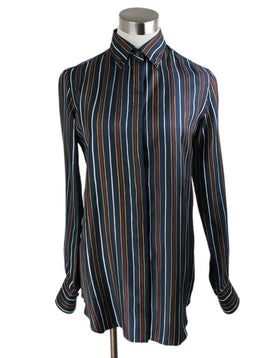 Shirt Loro Piana Blue Navy White Red Stripe Silk Top 1