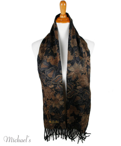 Loro Piana Black Brown Floral Cashmere Scarf