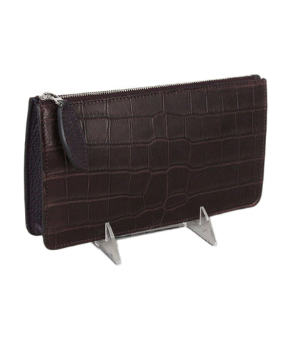 Loro Piana Brown Purple Crocodile Clutch 1