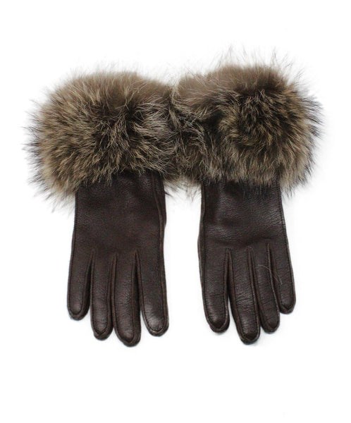Loro Piana Brown Leather Fox Fur Trim Gloves