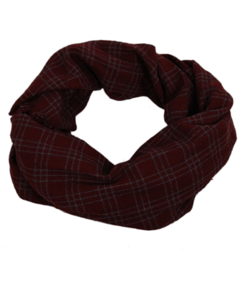 Loro Piana Burgundy Plaid Cashmere Scarf 1