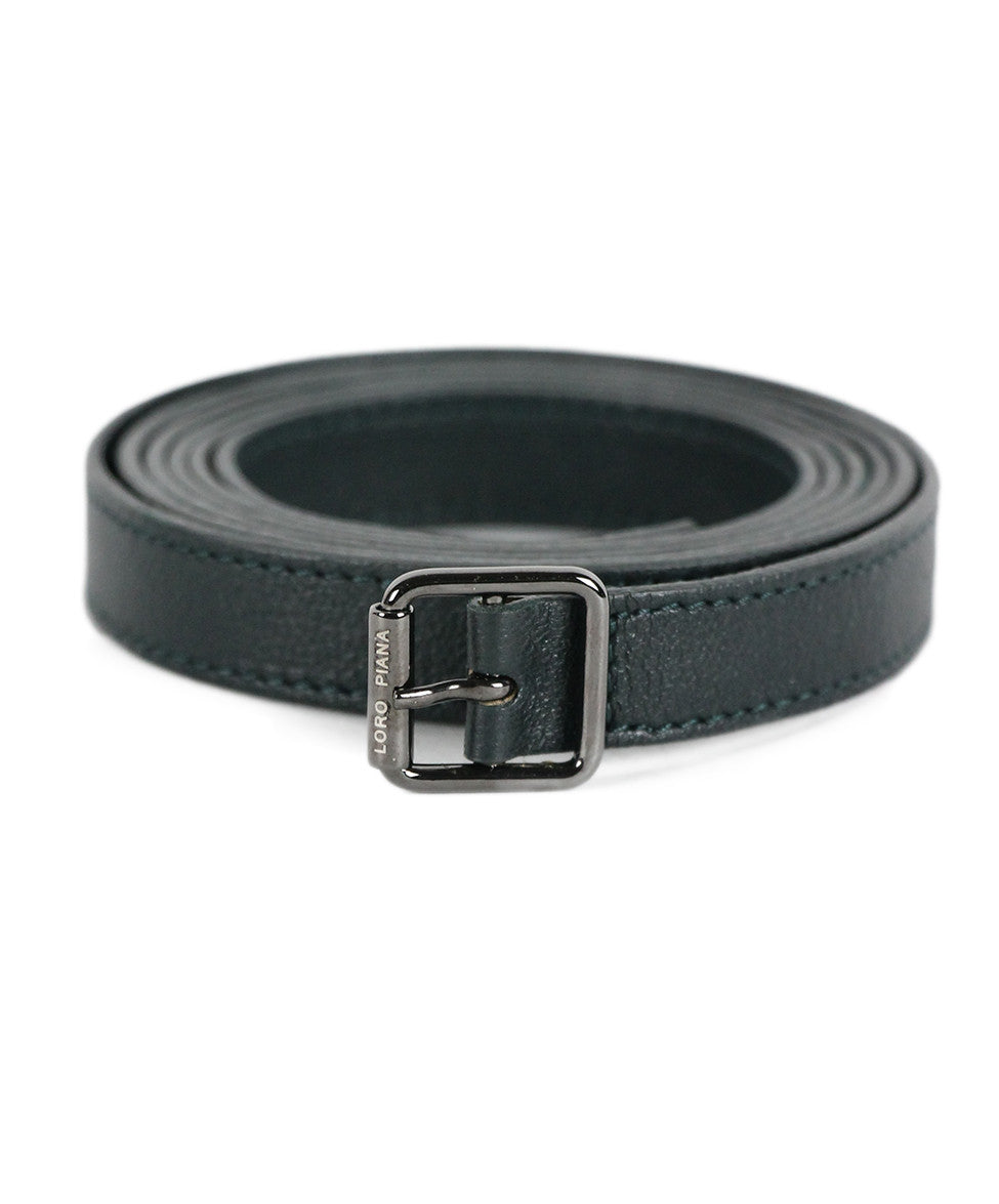 Loro Piana Green Leather Belt - Michael's Consignment NYC  - 1