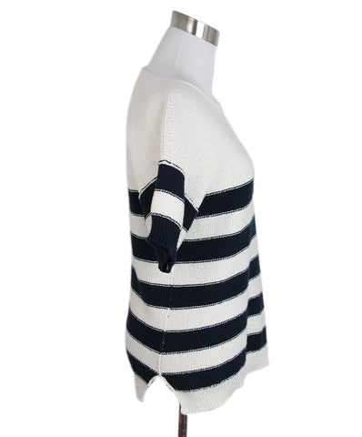 Loro Piana Ivory cotton navy stripes sweater 1