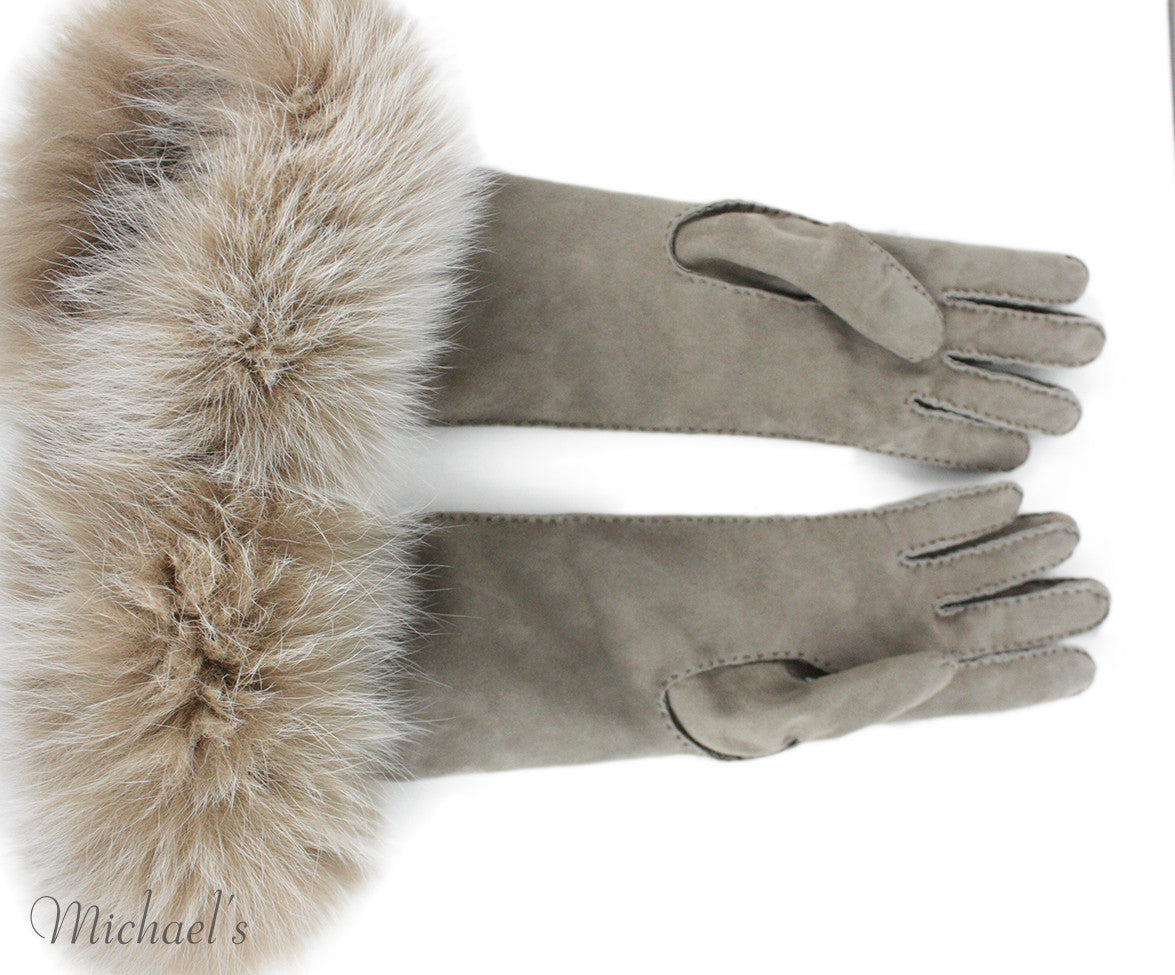 Loro Piana Neutral Cashmere Suede Fox Trim  Gloves - Michael's Consignment NYC  - 2