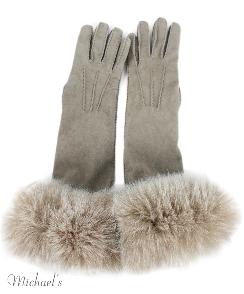 Loro Piana Neutral Cashmere Suede Fox Trim  Gloves - Michael's Consignment NYC  - 3