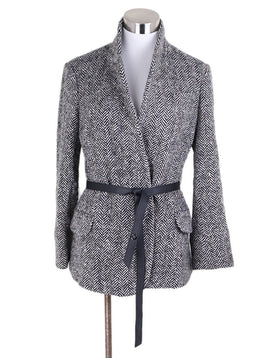 Loro Piana Black White Cashmere Herringbone Wool Jacket