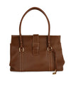 Loro Piana Brown Leather Cream Stitching Tote Handbag 1