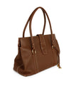 Loro Piana Brown Leather Cream Stitching Tote Handbag 2