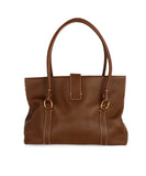 Loro Piana Brown Leather Cream Stitching Tote Handbag 3