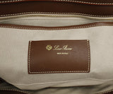 Loro Piana Brown Leather Cream Stitching Tote Handbag 7