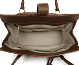Loro Piana Brown Leather Cream Stitching Tote Handbag 6