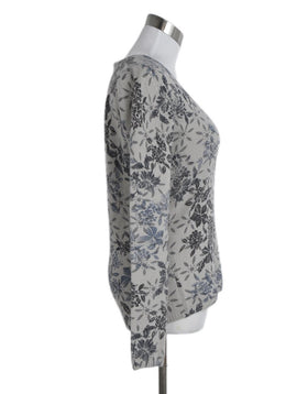 Loro Piana Grey Blue Floral Cashmere Sweater 2