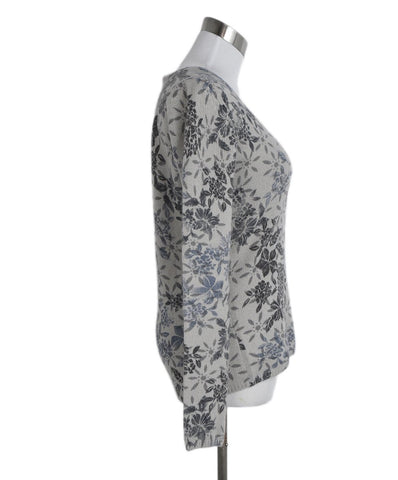 Loro Piana Grey Blue Floral Cashmere Sweater 1