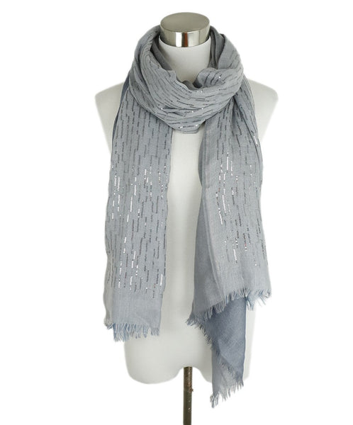 Loro Piana Grey Cashmere Sequins Scarf 1