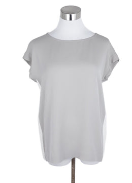 Loro Piana Grey Ivory Silk Top 1