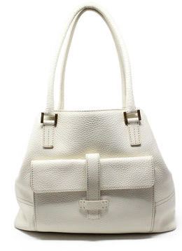 Loro Piana White Ivory Leather Handbag 1