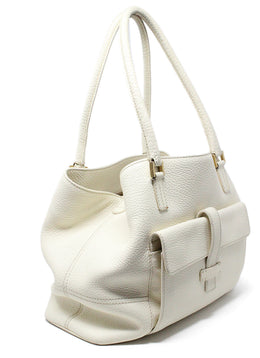Loro Piana White Ivory Leather Handbag 2