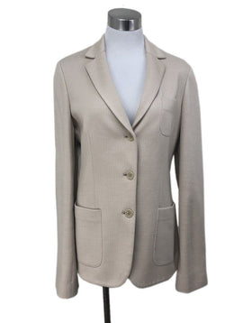 Loro Piana Size 10 Neutral Tan Cotton Silk Jacket