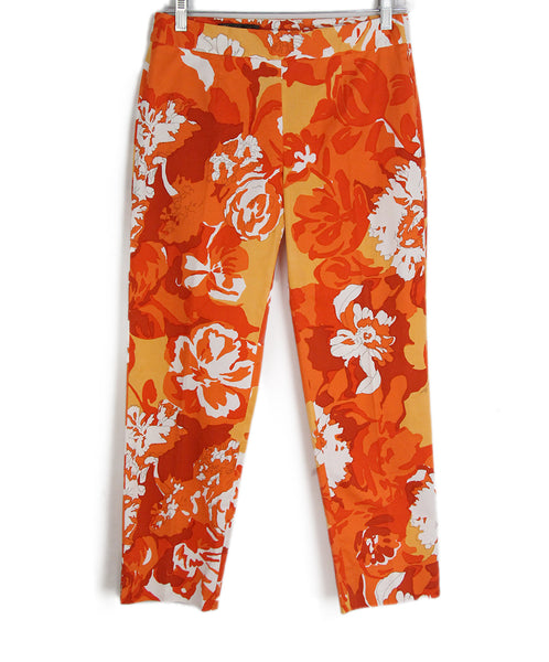 Loro Piana orange multi print pants 1