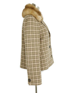 Loro Piana Taupe Wool Cream Plaid Sable Collar Real Fur Coat 2