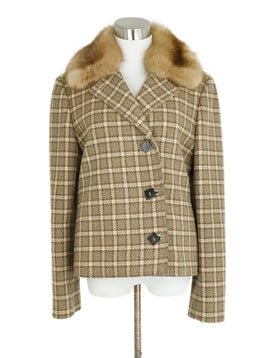 Loro Piana Taupe Wool Cream Plaid Sable Collar Real Fur Coat 1