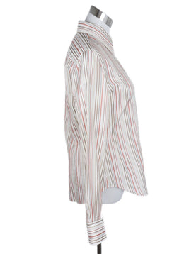 Loro Piana White Taupe Orange Stripes Silk Top 2