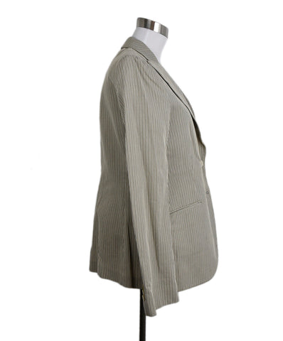 Loro Piana White Taupe Stripes Cotton Jacket 1