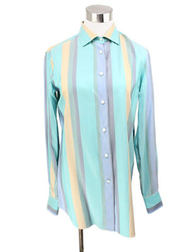 Blouse Loro Piana Blue Green Beige Silk Top 1