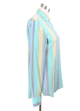 Blouse Loro Piana Blue Green Beige Silk Top 2