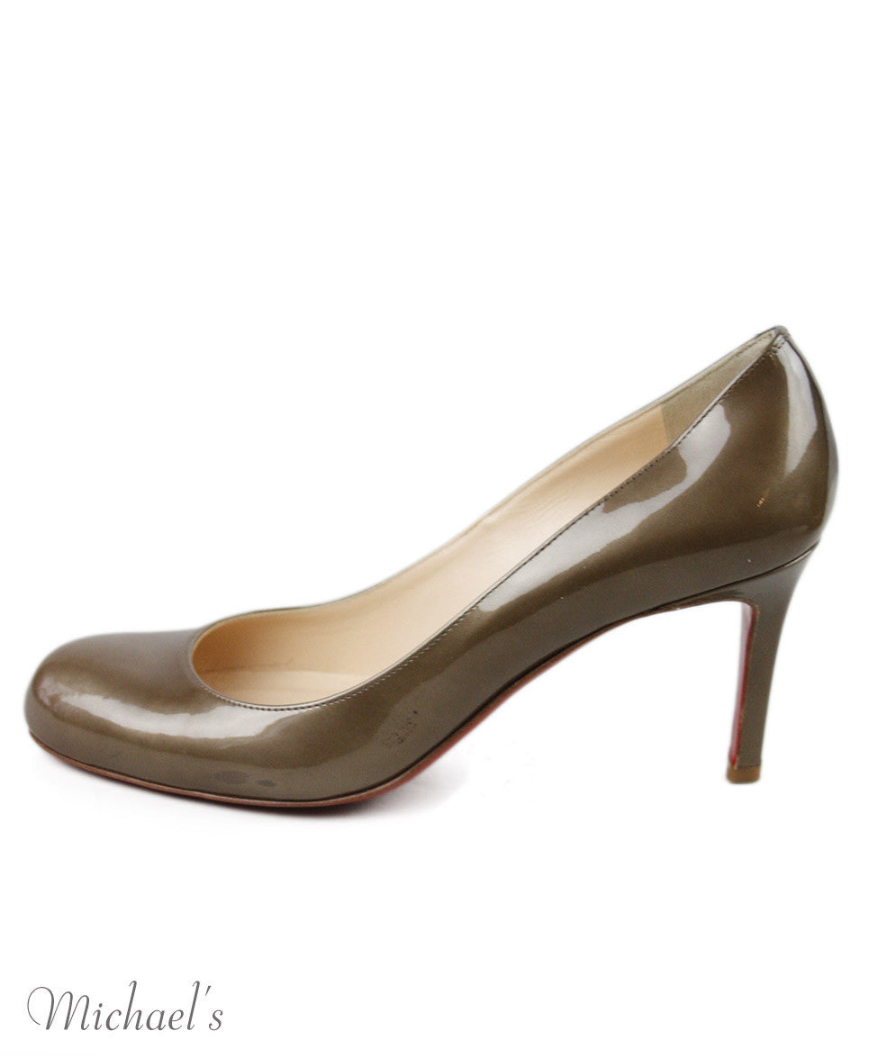 Christian Louboutin Bronze Patent Leather Shoes Sz 36.5