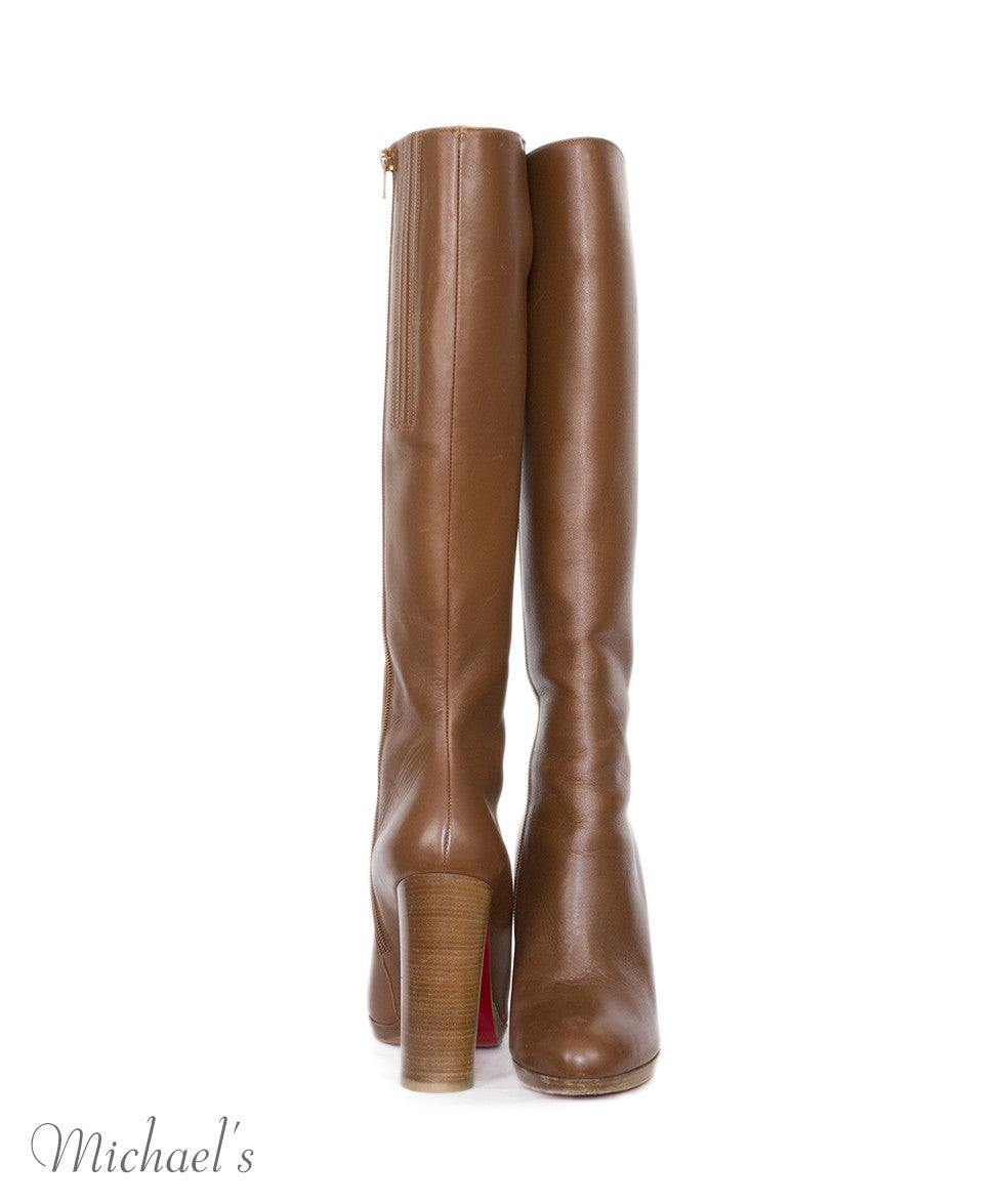 Christian Louboutin Tobacco Leather Wood Heel Boots Sz 40 - Michael's Consignment NYC  - 4