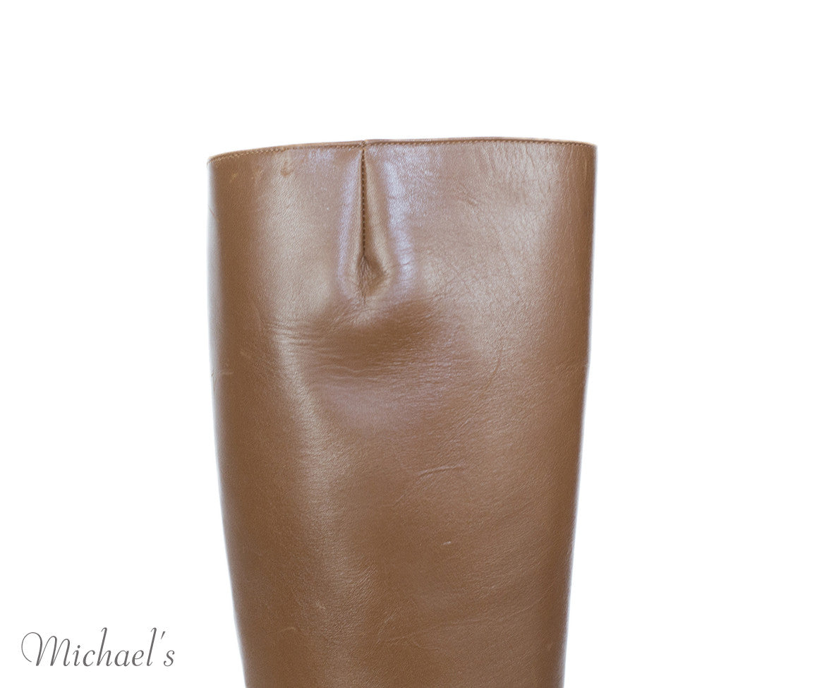 Christian Louboutin Tobacco Leather Wood Heel Boots Sz 40 - Michael's Consignment NYC  - 6