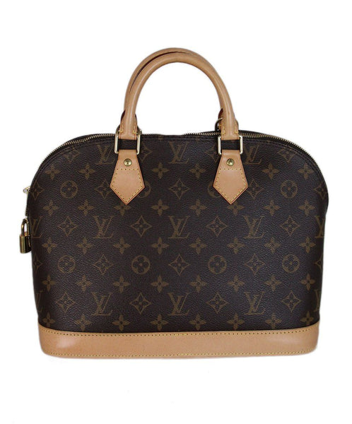 Louis Vuitton Alma PM brown tan monogram satchel 1
