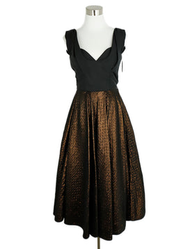 Louis Vuitton Black Bronze Silk Lurex Dress 1