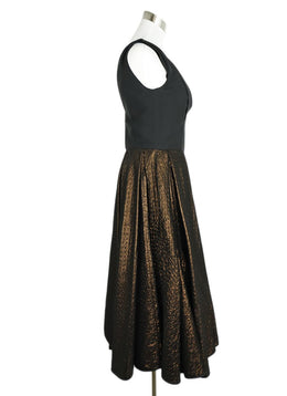 Louis Vuitton Black Bronze Silk Lurex Dress 2