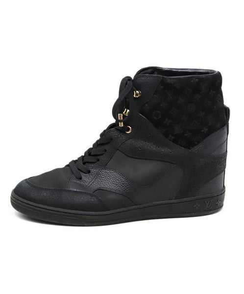 Louis Vuitton Black Leather Monogram Sneakers 1