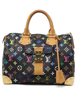 Satchel Gold Hardware Zipper Louis Vuitton Black Rainbow Monogram Canvas Handbag