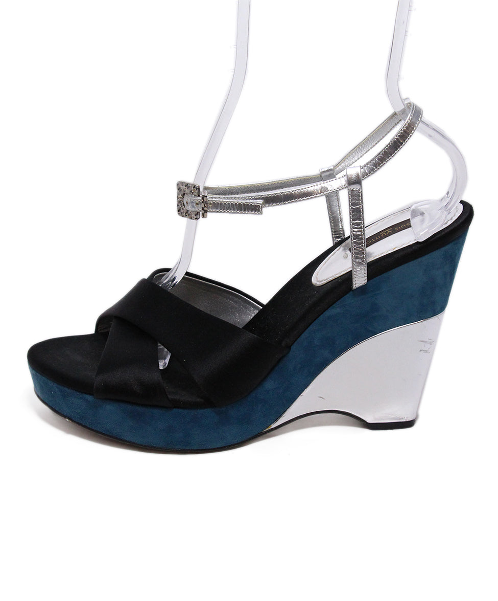 Louis Vuitton Black Satin Teal Suede Sandals 2