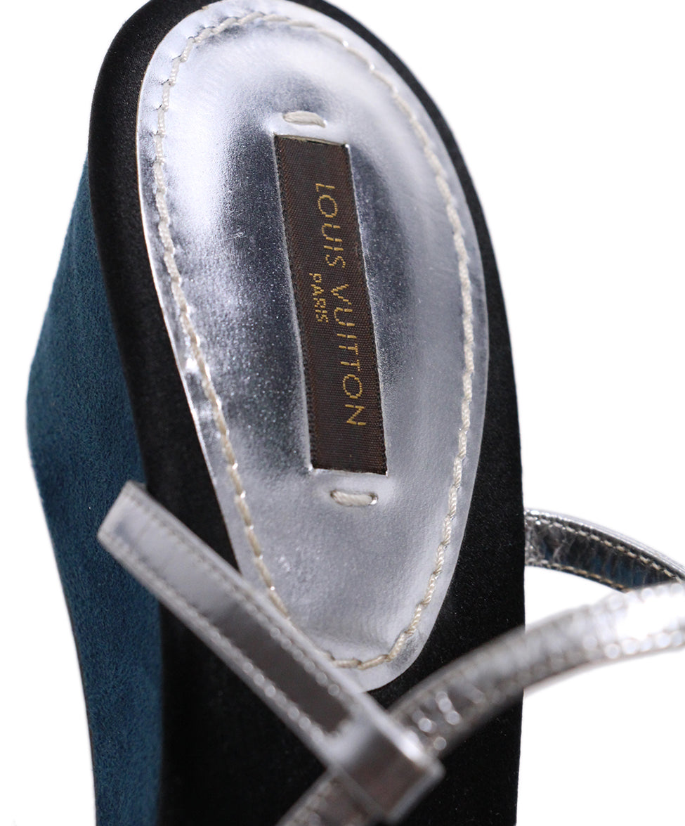 Louis Vuitton Black Satin Teal Suede Sandals 7