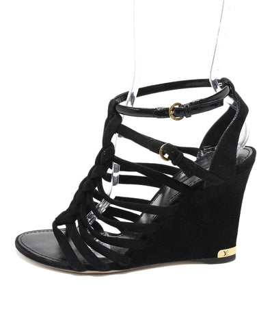 Louis Vuitton Black Suede Wedges 1