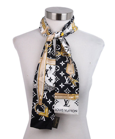 Louis Vuitton Black White Gold Skinny Scarf 1