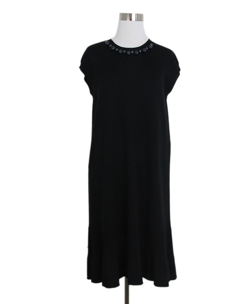 Louis Vuitton Black wool beaded trim dress 1